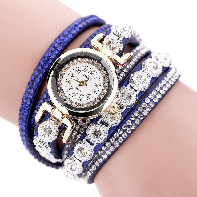 Beautiful Luxury Gold Crystal Quartz Watch & Leather Bracelet