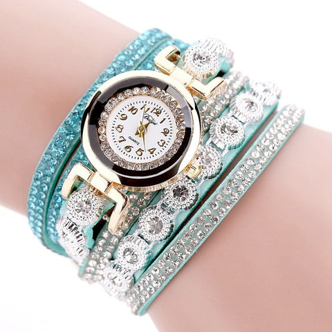 Image of Beautiful Luxury Gold Crystal Quartz Watch & Leather Bracelet