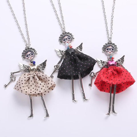 Image of Handmade Doll Polk-a-Dot Dress Angel Necklace