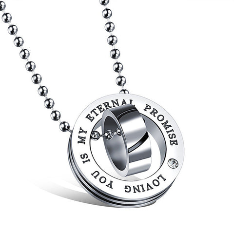 "Couple ""Our Love Will Last Forever"" Pendant Stainless Steel Chain Necklace"