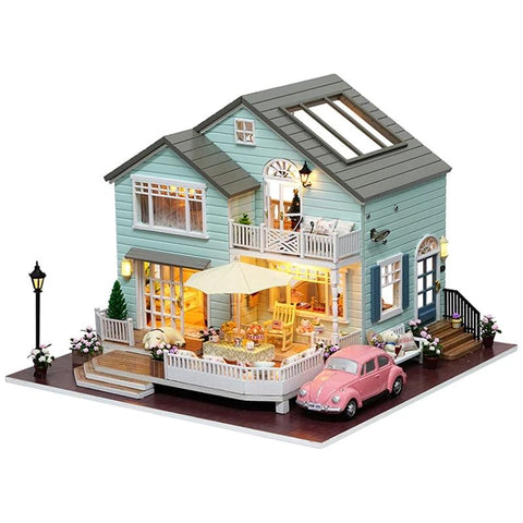 DIY Cherry Blossom Wooden Handmade Miniature Dollhouse With Furniture with Light Kit