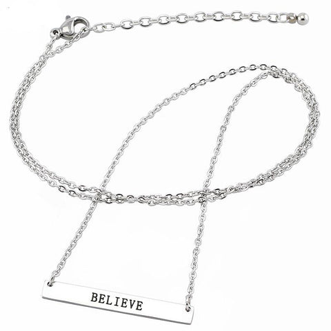 Inspirational Bar Stainless Steel Hand Stamped Necklace with 20'' Chain