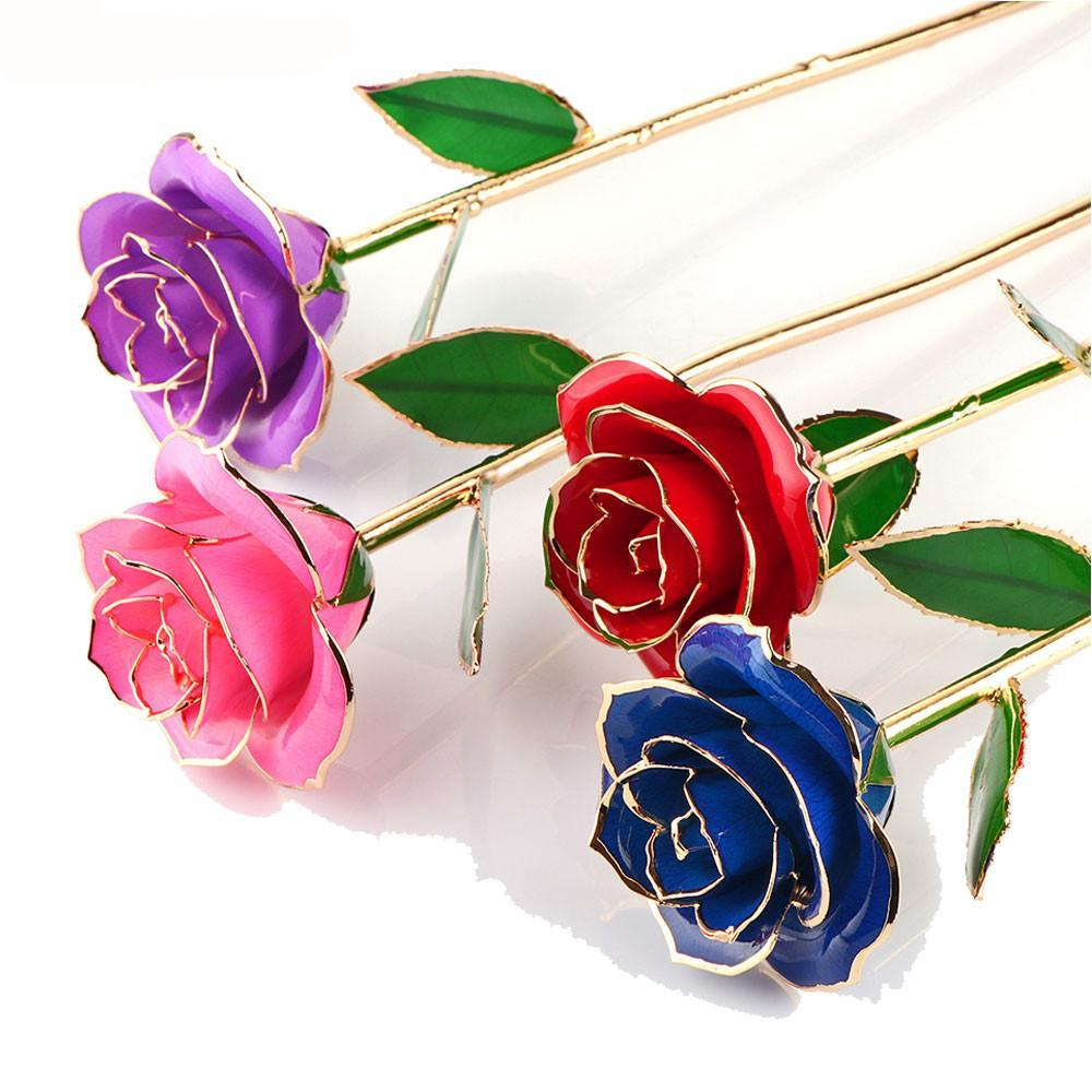 24k Gold Plated Rose With Transparent Stand And Exquisite Gift Box