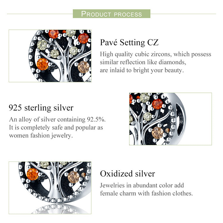 Sterling Silver Autumn Tree of Life Bead Charm