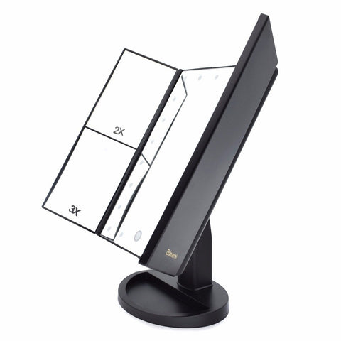 Image of Tri-Fold Adjustable 21 LED Lights 1X/2X/3X Magnifying Makeup Mirror +10X Mirror
