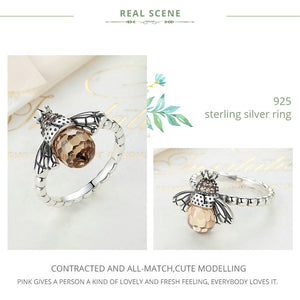 Sterling Silver Amber Bee Ring
