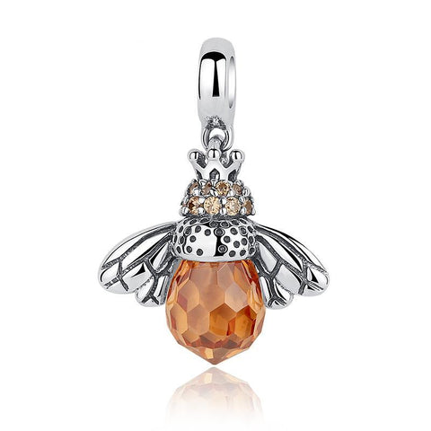 Sterling Silver Amber Bee Charm