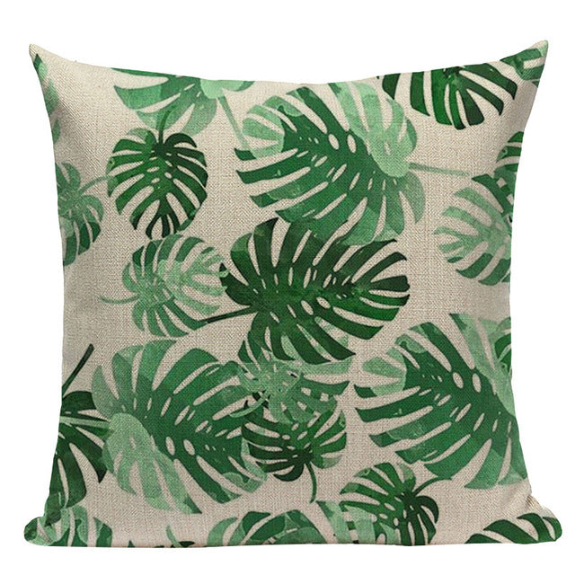 Palm Leaf Linen Decorative Pillow Cases