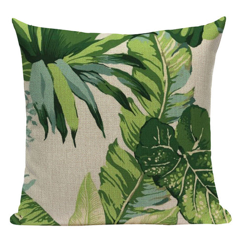 Image of Palm Leaf Linen Decorative Pillow Cases