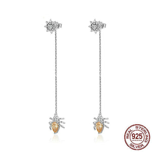 Sterling Silver Amber Spider Long Drop Earrings