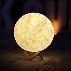 Image of Moon Color-Changing Lamp with Touch Sensor