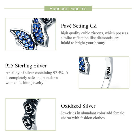 Image of Butterfly & Flower Blue CZ Ring