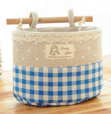 Image of Wall Sundry Lace Fabric Cotton Pocket Hanging Holder