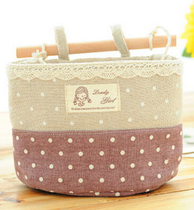 Wall Sundry Lace Fabric Cotton Pocket Hanging Holder
