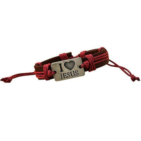 "Image of ""I LOVE JESUS"" Leather Rope Adjustable Bracelet"