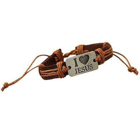 """I LOVE JESUS"" Leather Hemp Rope Adjustable Bracelet"