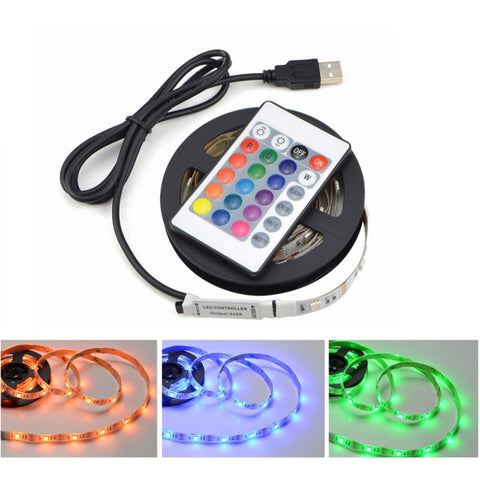 Image of USB Powered 5 V RGB LED Light Strip With Remote Control