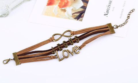 Handmade Infinity Jesus Love Leather Bracelet