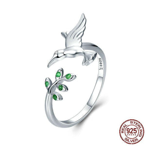 Bird & Spring Tree Leaves Open Size Ring