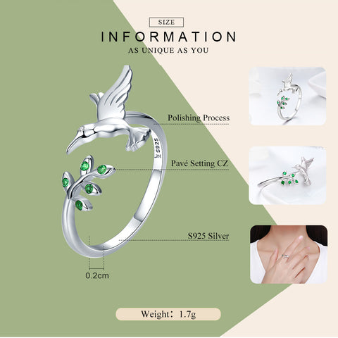 Image of Bird & Spring Tree Leaves Open Size Ring