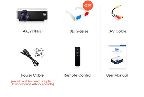 Image of AUN AKEY1 LED Mini Projector, 1800 Lumens, Supports Full HD Video Multimedia Home Theatre Player
