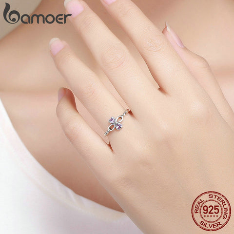 Infinity with Heart Luminous Pink CZ Ring