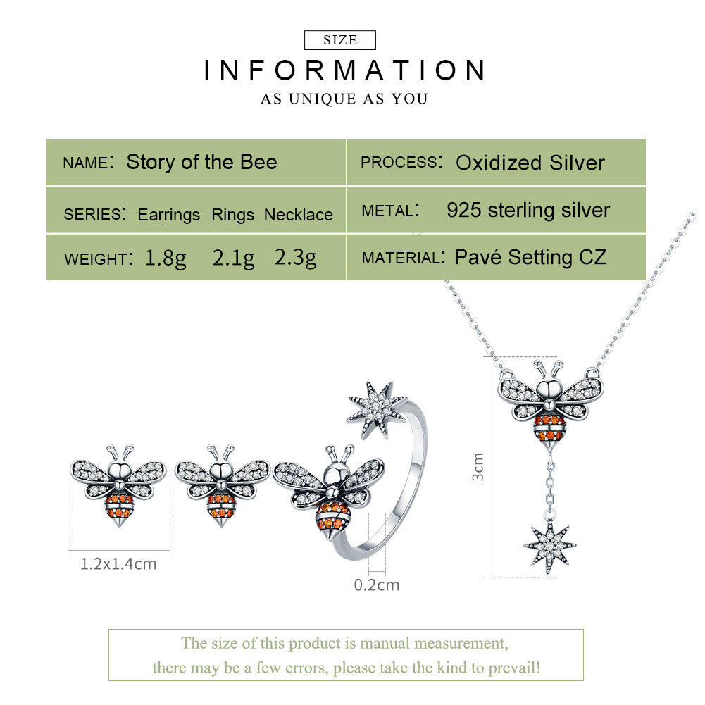 Bee Luminous CZ Sterling Silver Jewelry Set