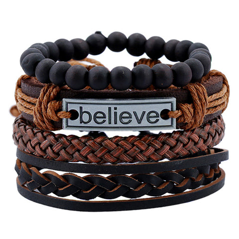 4 Piece Vintage Leather-Bead Bracelets
