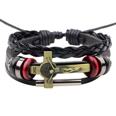 Image of New Leather Jesus Adjustable Handmade Bracelet