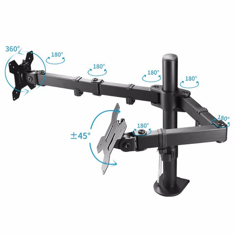 "Image of Fully Adjustable Dual Arm LCD LED Monitor Desk Mount 13""-27"" Screens with 15 degree Tilt"