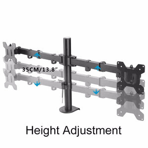 "Fully Adjustable Dual Arm LCD LED Monitor Desk Mount 13""-27"" Screens with 15 degree Tilt"