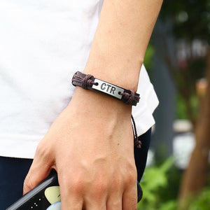 CTR Engraved Handmade Leather Bracelet