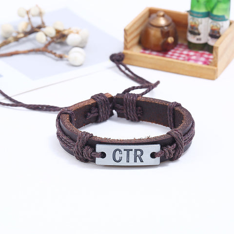 Image of CTR Engraved Handmade Leather Bracelet