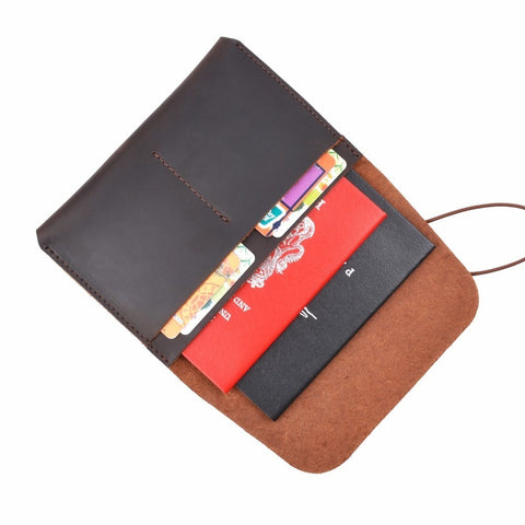Vintage 100% Genuine Leather Passport Credit Card Holder