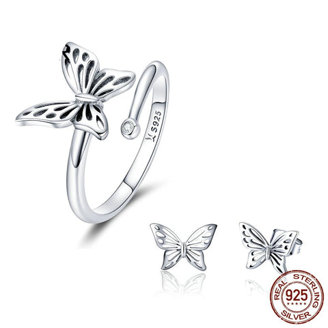 Image of Butterfly Sterling Silver Jewelry Set