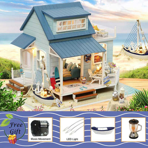 DIY Cottage by the Sea Minature Wooden Dollhouse Handmade Furniture with Light Kit