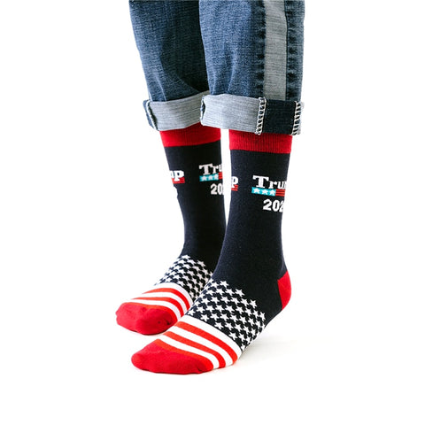 Fun Trump 2020 America National Flag Stars Socks