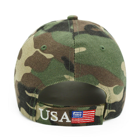 Image of Trump 2020 Hat USA Flag Camouflage Baseball Cap