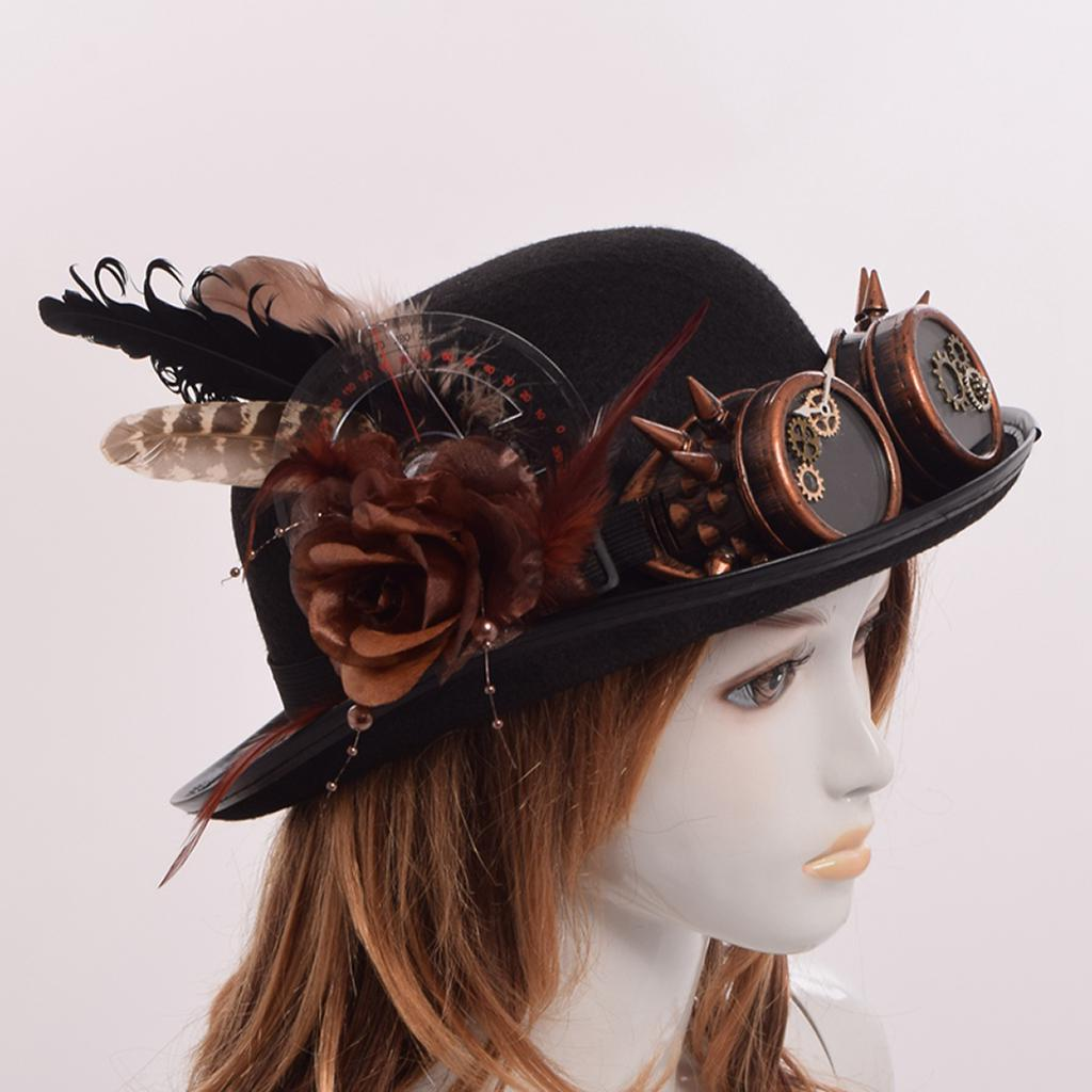 Vintage Black Bowler Hat with Goggles and Gears – Steampunk Dog 88e504e645d