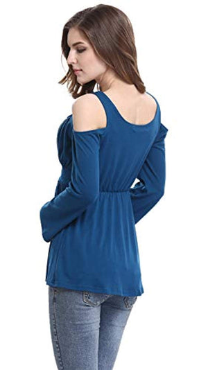 Women's Cold Shoulder Lace Up Casual Tunic Solid Blouse Tops