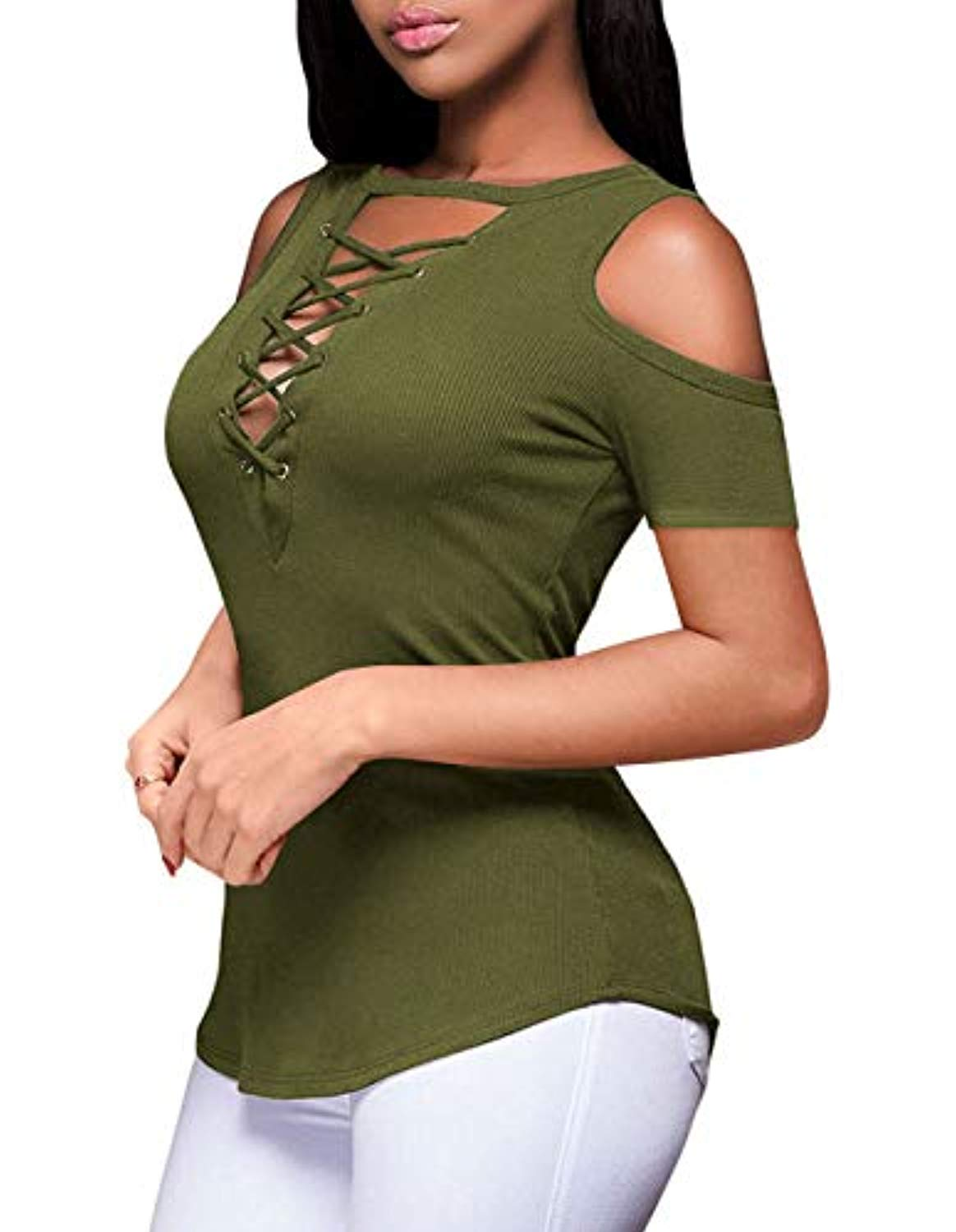 Women's Summer Sexy V-Neck Cold Shoulder Short Sleeve Blouse Slim Lace-up Ribbed Tops Stretchy Casual T-Shirts