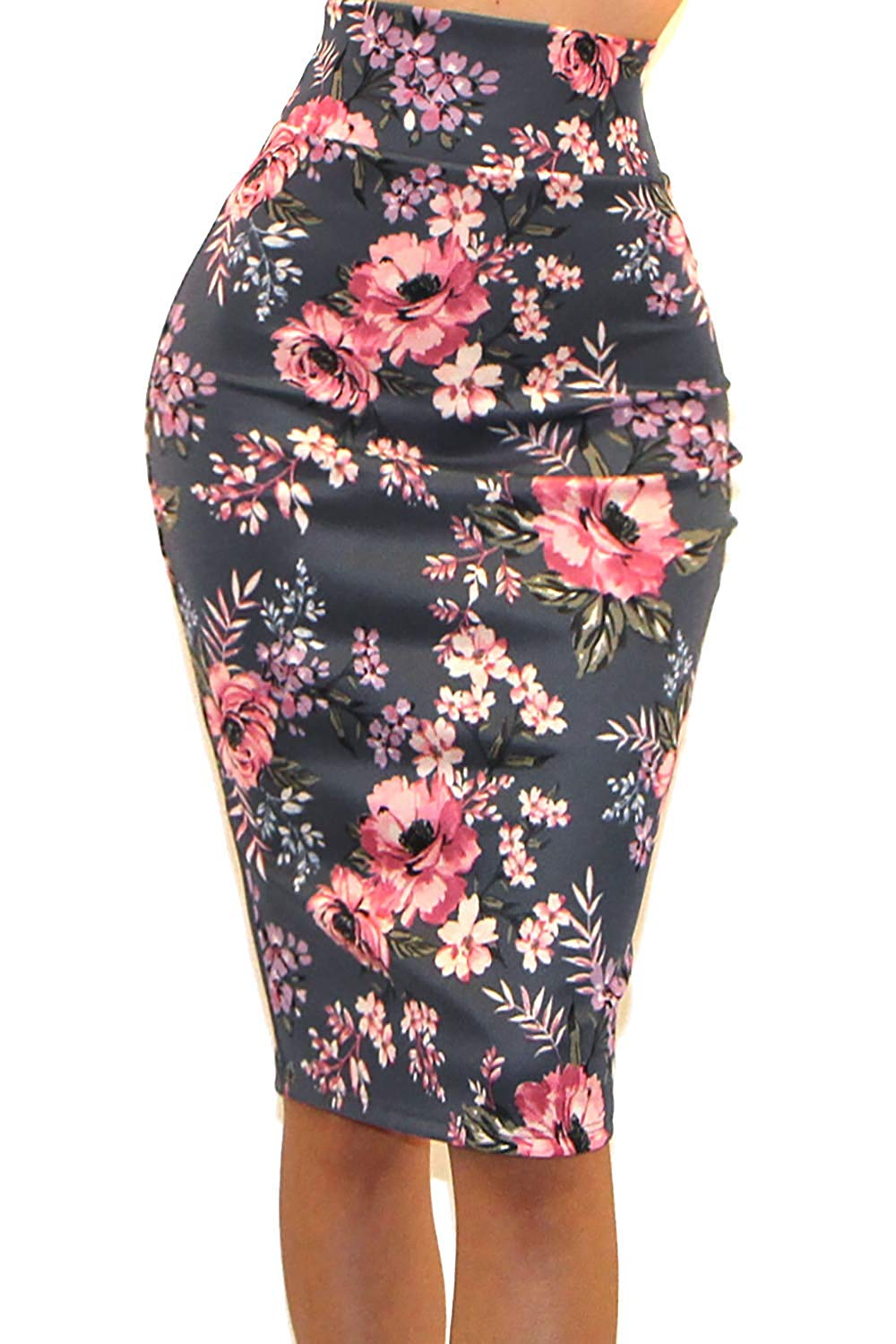 Women's USA High Waist Band Bodycon Career Office Midi Pencil Skirt