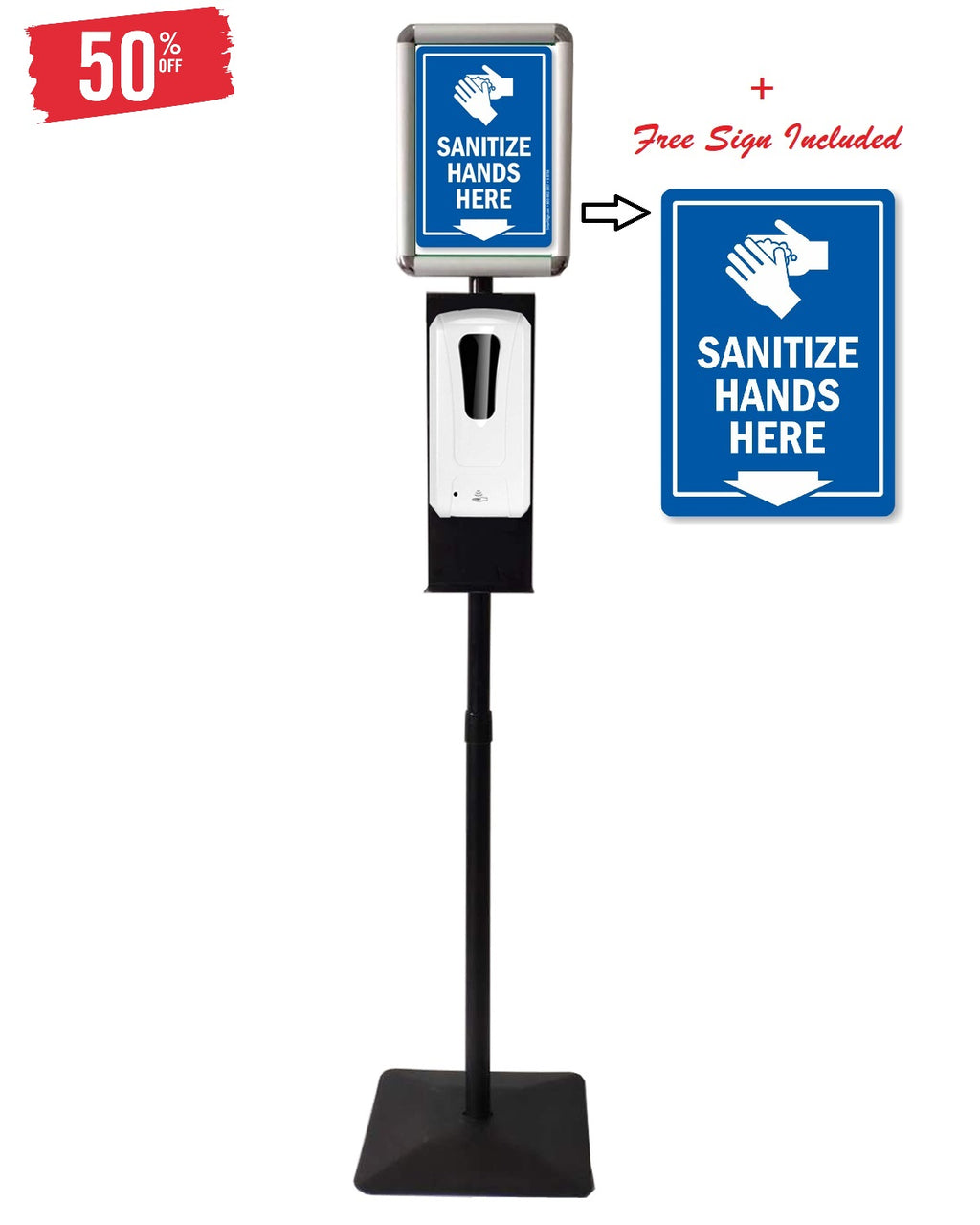 Automatic Hands free Dispenser (Both Dispenser & Adjustable Floor Stand Station) 1000ML / 34oz