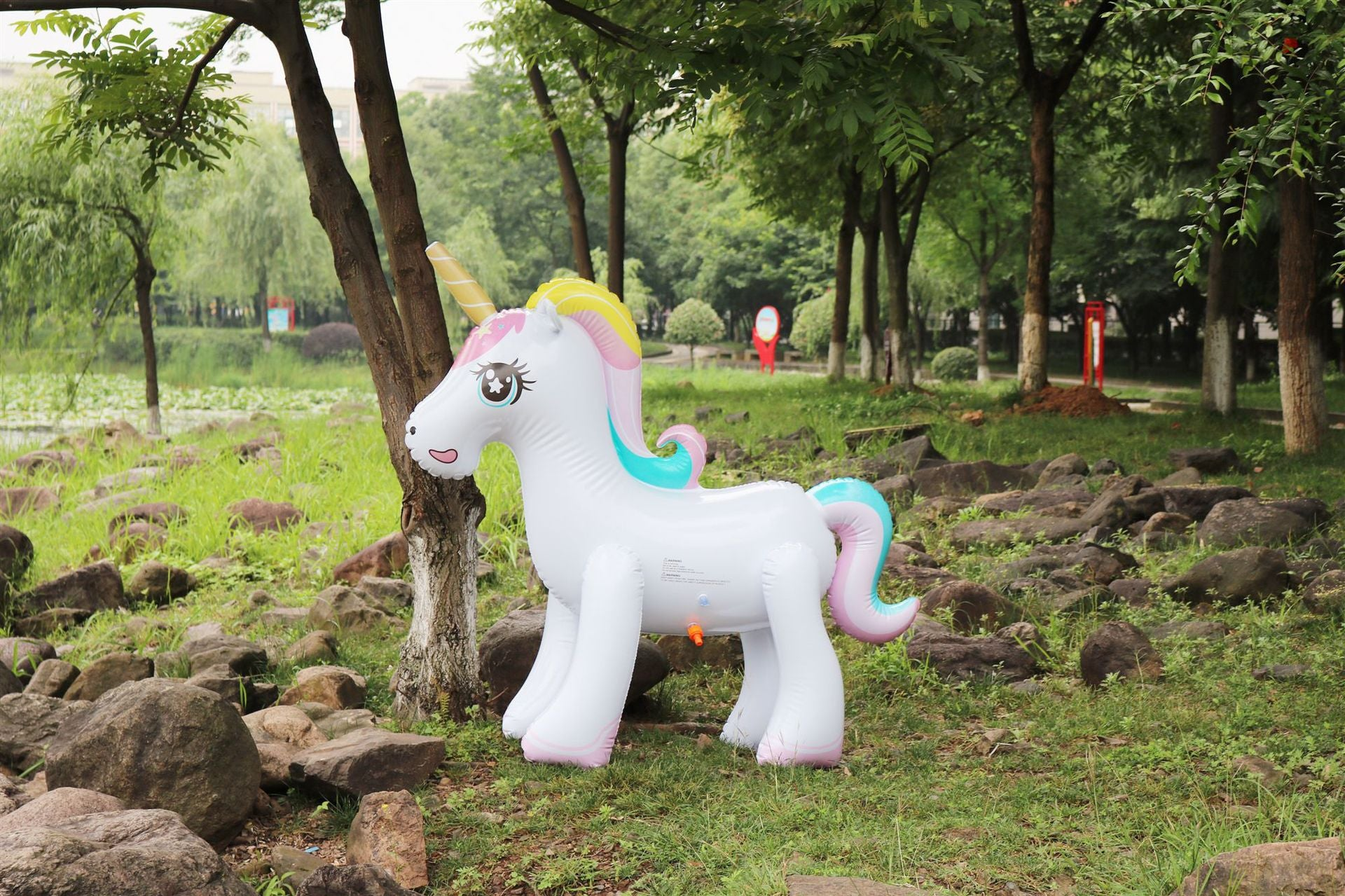 Rooxin 135cm Inflatable Unicorn Water Spray Pool Toys Swimming Float Outdoor Fountain Beach Party Children's Summer