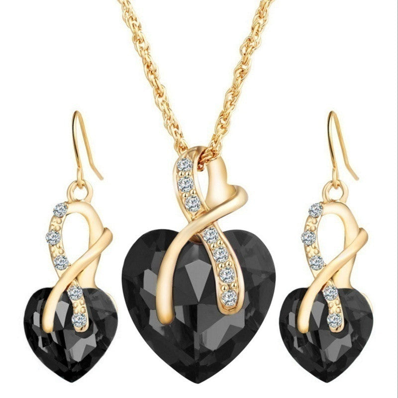Gold Plated Jewelry Sets For Women Crystal Heart Necklace Earring