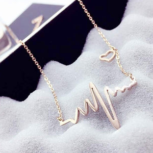 Electrocardiogram Pendant Heartbeat Heart Rhythm ECG EKG Simple Necklace