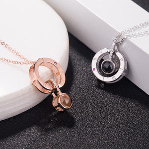 100 Languages Rose Gold & Silver  I Love You Necklace Projection on Round Onyx Pendant Collarbone Necklace Rose Gold