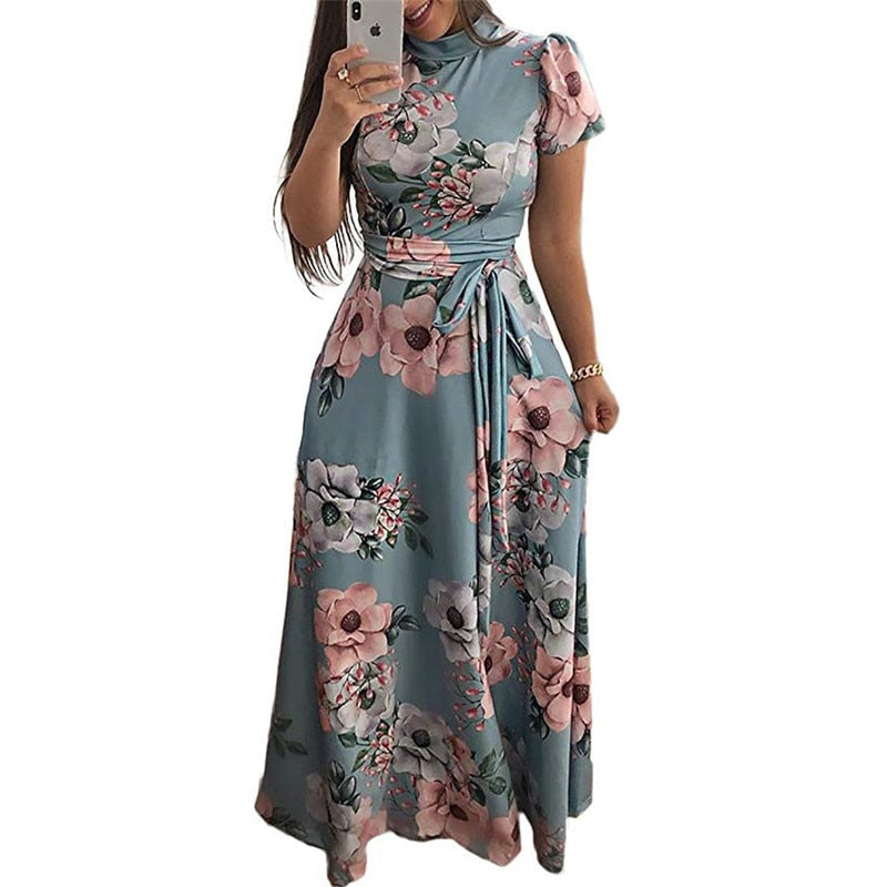 Floral Print Boho Style Beach Dress Casual Short Sleeve Bandage Party Dress