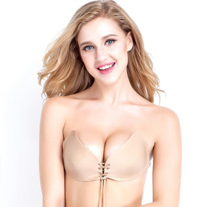 Women Fly Bra Self Adhesive Strapless Backless Solid Invisible Bra