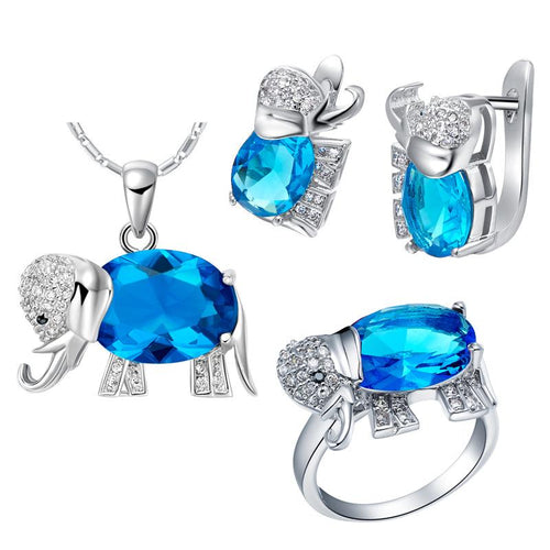 Women Lucky Elephant Ring/Earrings/Necklaces & Pendants Jewelry Set - Bamos